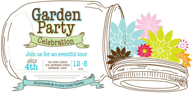Canning jar spring Garden Party invitation design template vector art illustration
