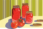 Three different canning jars filled with tomato sauce, salsa & stewed tomatoes. File includes AI CS2, EPS & Large High Res jpeg. No gradients.