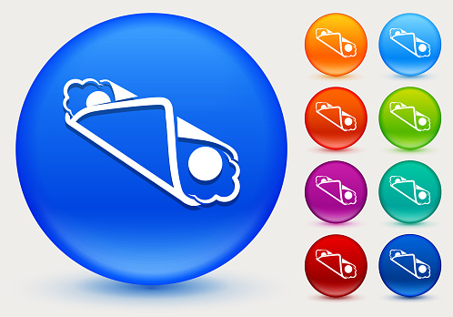 Cannoli Icon on Shiny Color Circle Buttons