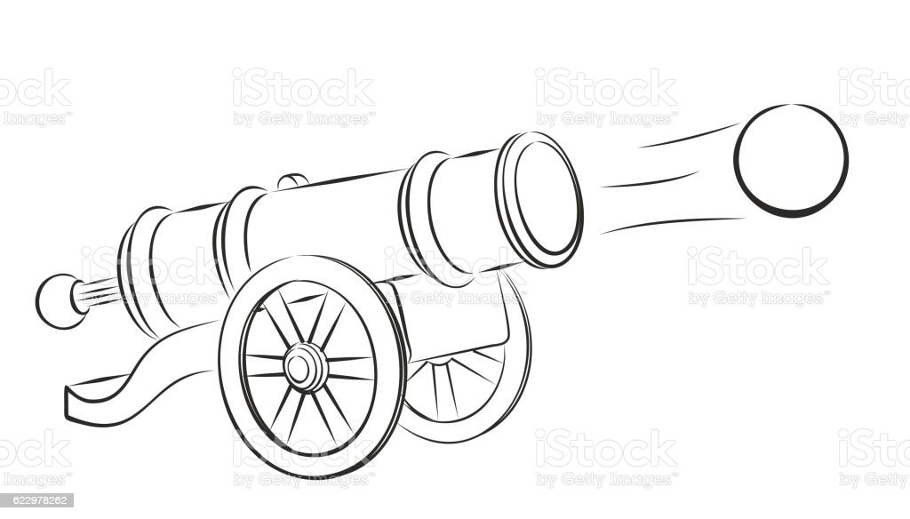 how to draw a cannon