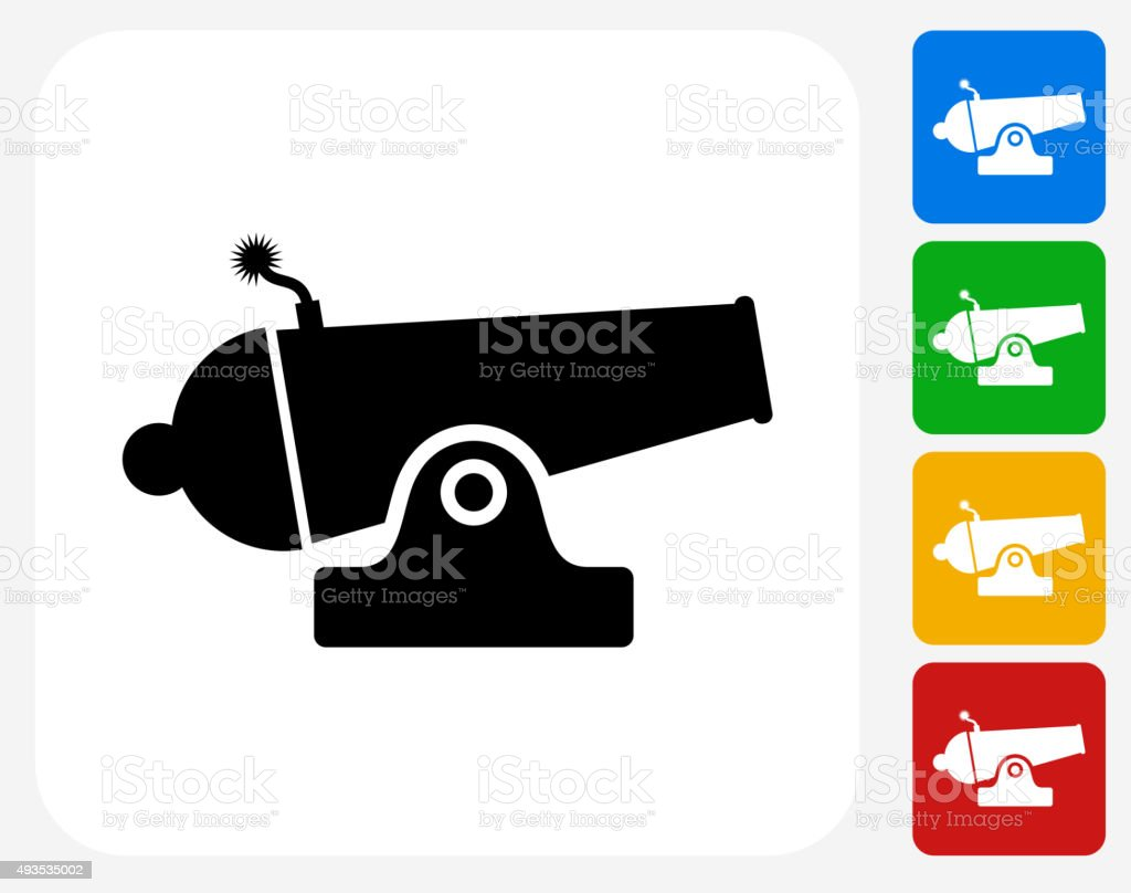 Cannon Icon Flat Graphic Design vector art illustration