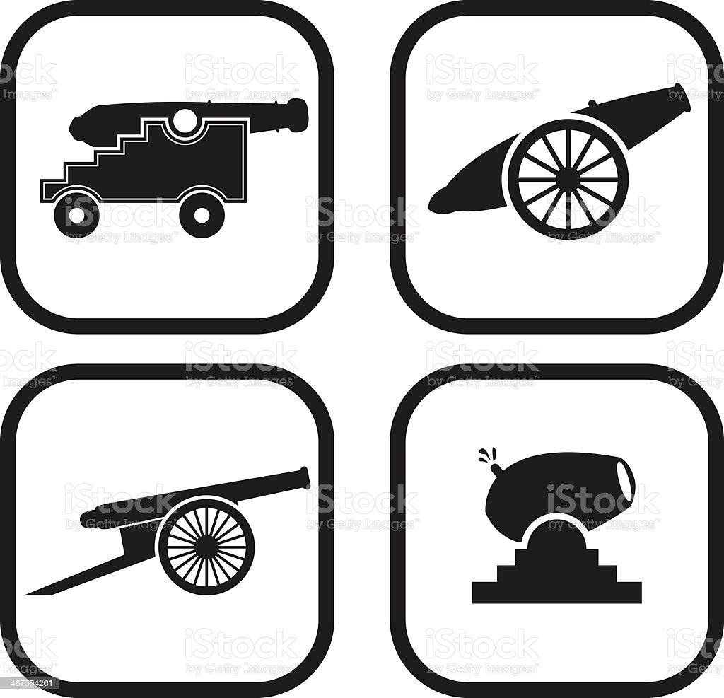Cannon icon - four variations vector art illustration