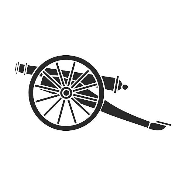 Cannon icon in black style isolated on white background. Museum - illustrazione arte vettoriale