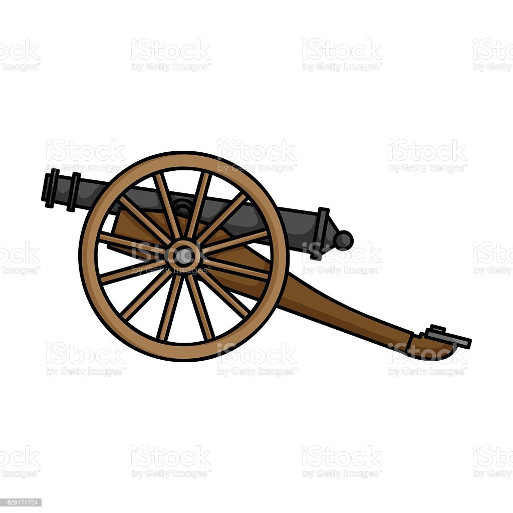 Cannon icon in cartoon style isolated on white background. Museu vector art illustration