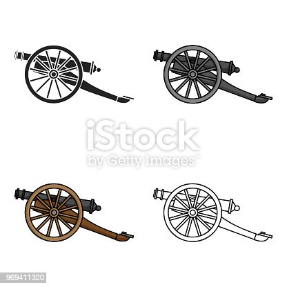 Cannon icon in cartoon style isolated on white background. Museum symbol stock vector illustration.
