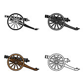 Cannon icon in cartoon style isolated on white background. Museum symbol stock vector web illustration.