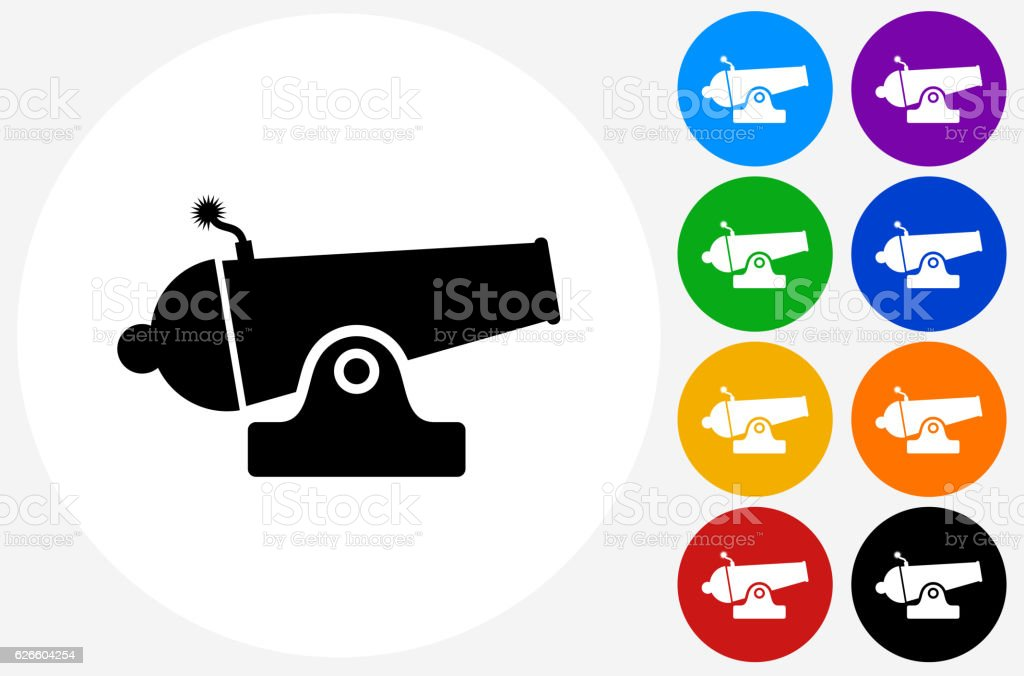 Cannon Icon on Flat Color Circle Buttons vector art illustration