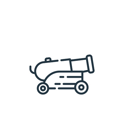 cannon icon vector from museum concept. Thin line illustration of cannon editable stroke. cannon linear sign for use on web and mobile apps, logo, print media..
