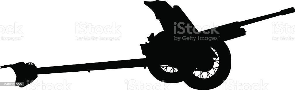 Cannon on wheels - ilustração de arte em vetor