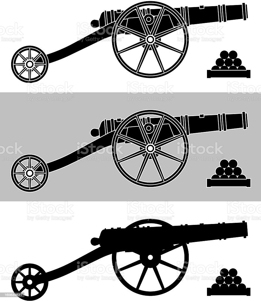 cannon silhouette royalty-free cannon silhouette stock vector art & more images of black color