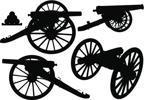 Various old cannon silhouettes.