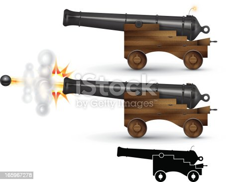A pirate ship cannon firing. Illustration contain transparencies and is saved as Illustrator 10 format.