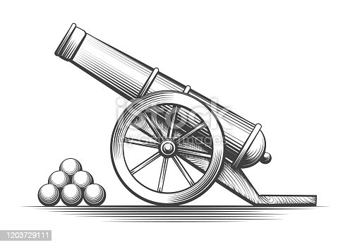Cannon weapon firing. Antique cannons shooting, vector vintage weapons with cannonballs arsenal isolated on white background