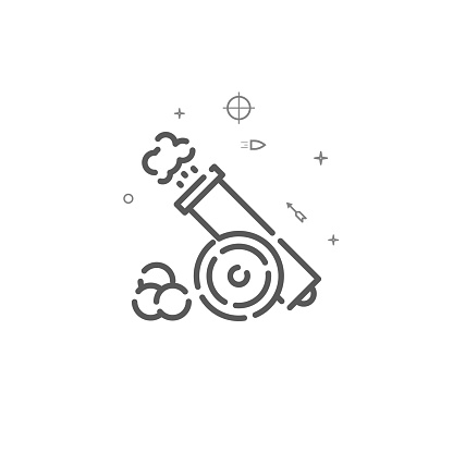 Cannon with cores simple vector line icon. Symbol, pictogram, sign. Light background. Editable stroke