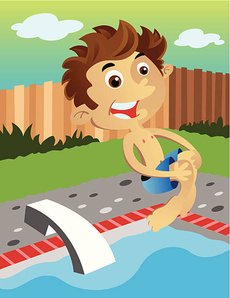 Cannonball into a pool vector art illustration