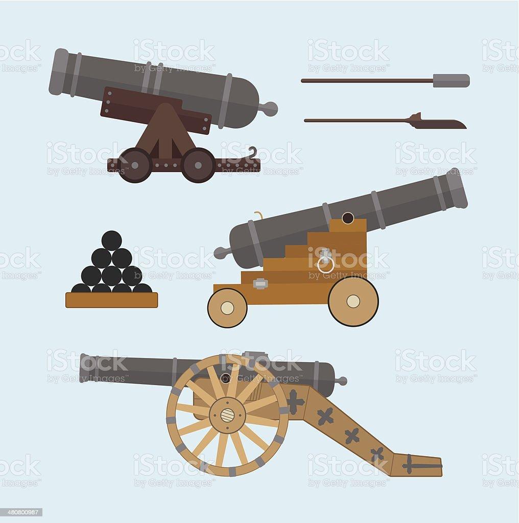 Cannons flat style vector art illustration