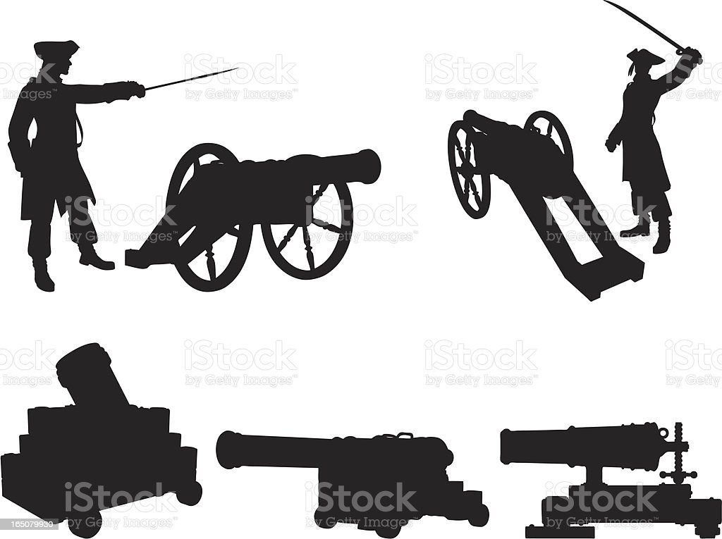 Cannons Silhouette Collection vector art illustration