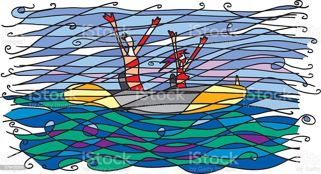 canoa neocubista vector art illustration