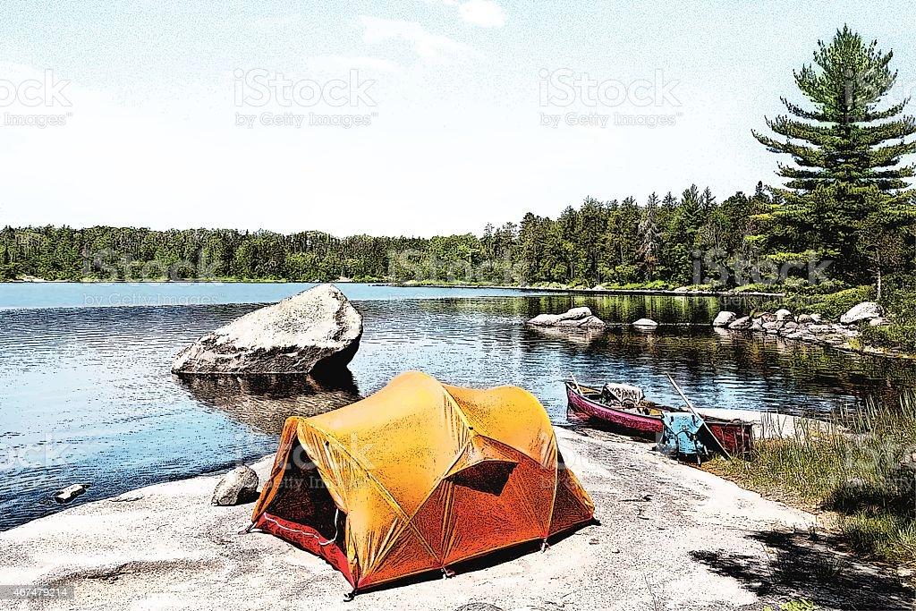 Canoe Campsite On Wilderness Lake vector art illustration
