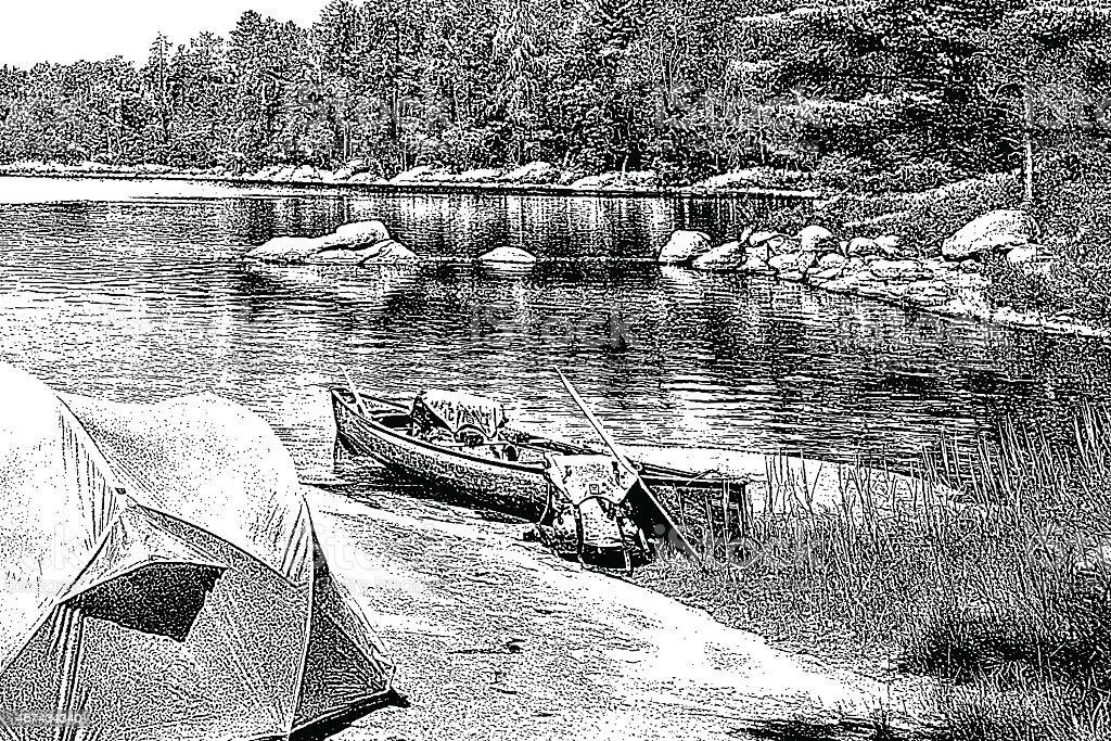 Canoe Campsite vector art illustration