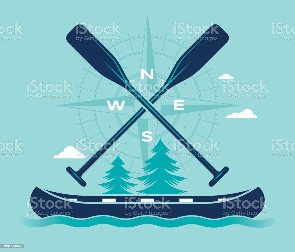 Aventure en canot l'été boussole symbole - Illustration vectorielle
