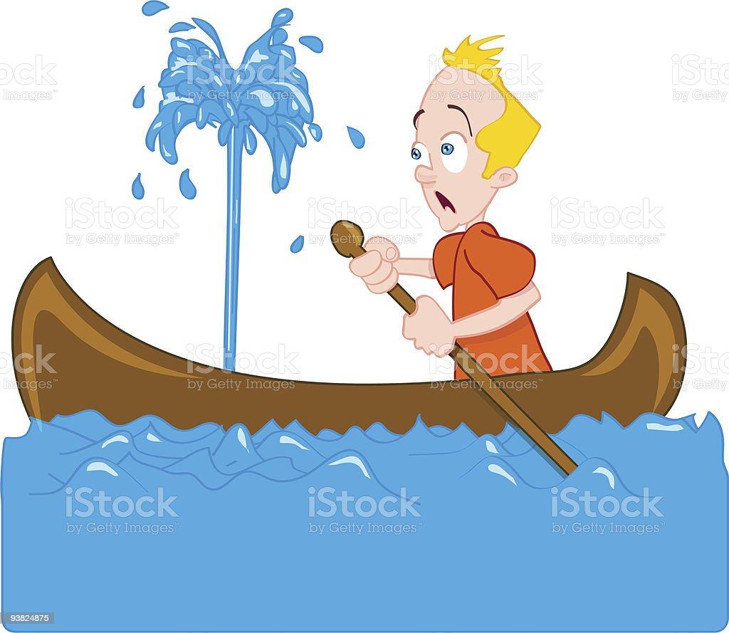 Canoe disaster vector art illustration