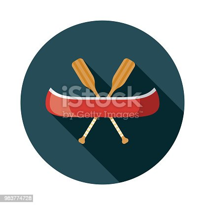 istock Canoe Flat Design Transportation Icon 983774728