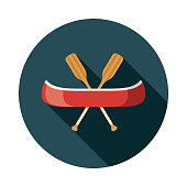 Canoe Flat Design Transportation Icon