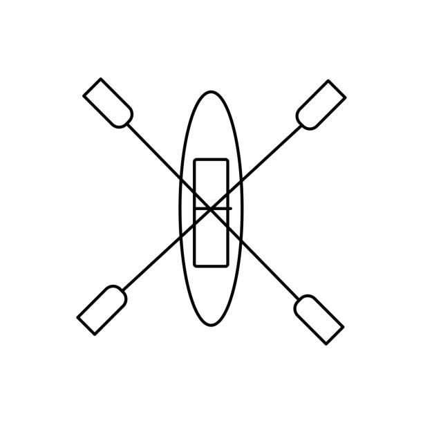 canoe icon vector art illustration