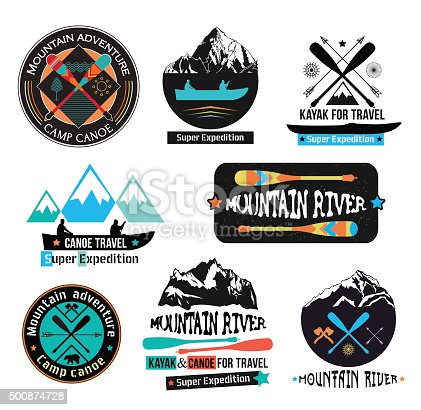 Canoe Journey logotype sign. Paddle boat axe sign. Expedition on a mountain river sign. Kayak and canoe sign logo. To travel by boat in the mountains. National Park, mountain lake, outdoor logos.