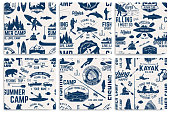 Canoe, Kayak and fishing Club seamless pattern