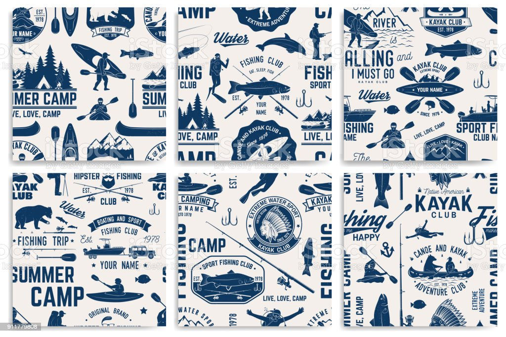 Canoe, Kayak and fishing Club seamless pattern vector art illustration