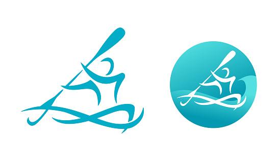 Canoe logo or kayaking sport emblem