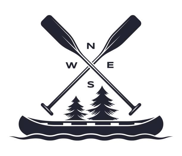 Canoe Oar Adventure Symbol Vector Art Illustration