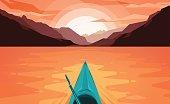 Canoe on Lake. Sunset.