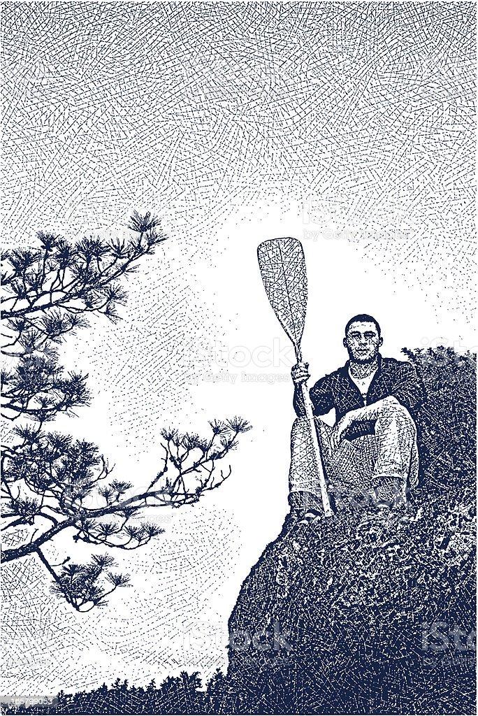 Canoe Paddler vector art illustration