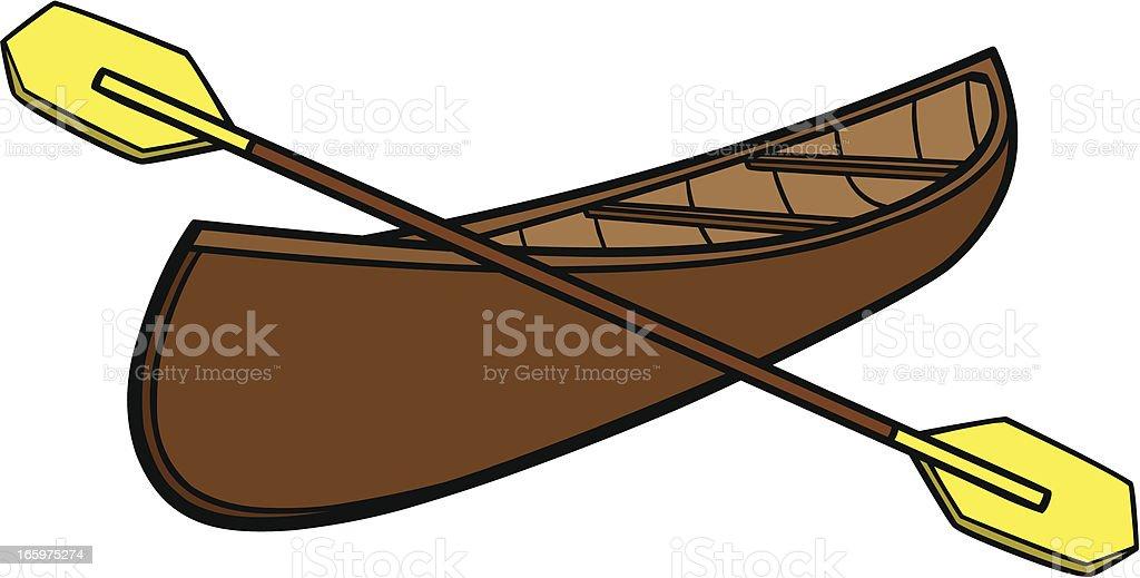 Canoe & Paddles royalty-free stock vector art