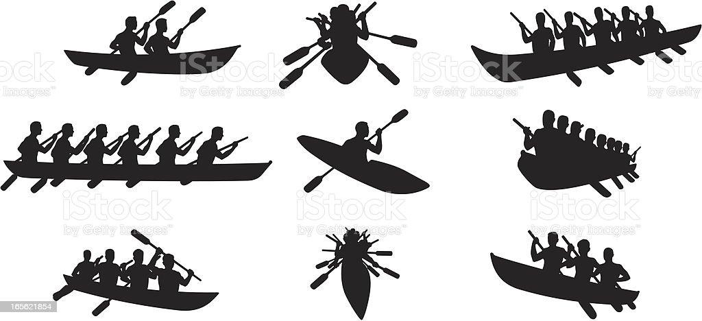 Kanu-Silhouetten – Vektorgrafik