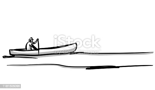 Rough sketch of a man paddling in his canoe on a quiet lake