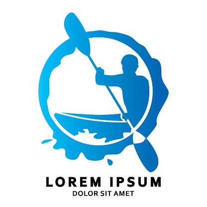 canoe sport logo with simple shape