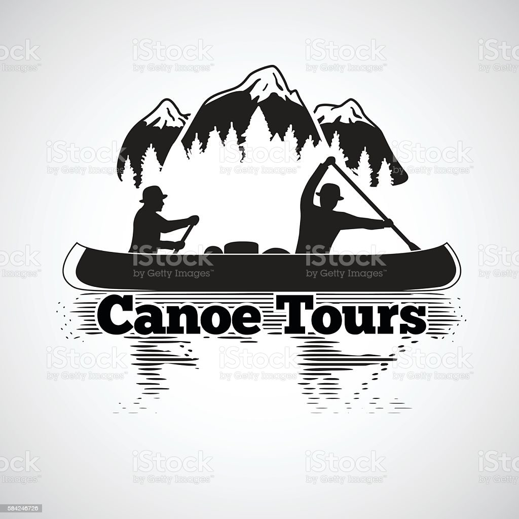 Canoe tours label. Two man in a boat, with reflection vector art illustration