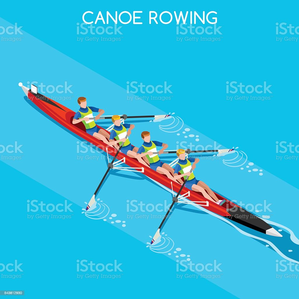 Canoe Without Coxswain Four  Summer Games 3D Vector Illustration vector art illustration
