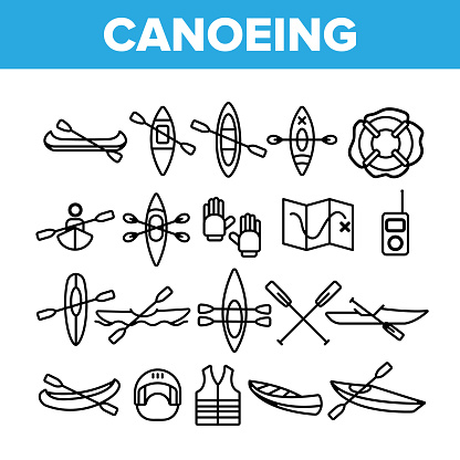 Canoeing, Active Rest Vector Thin Line Icons Set