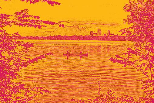 Canoeing and fishing on a Minneapolis lake. Lake Calhoun