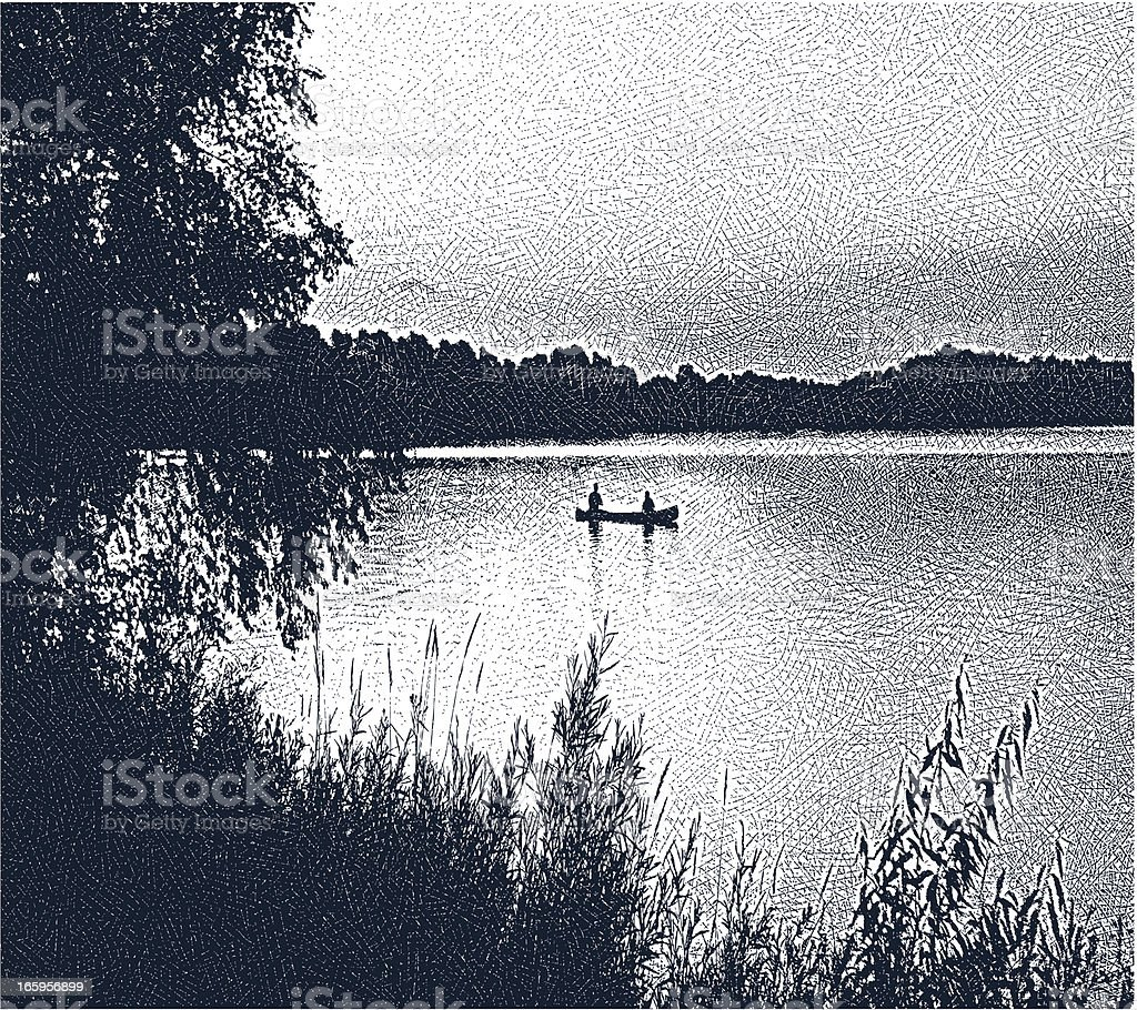 Canoeing and Fishing vector art illustration