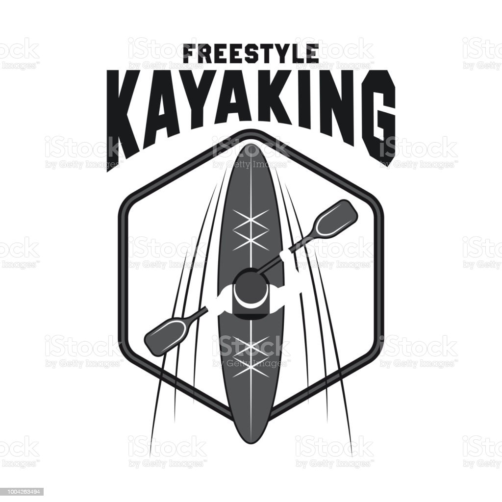 canoeing and kayaking sport activity icon, emblems and insignia vector art illustration