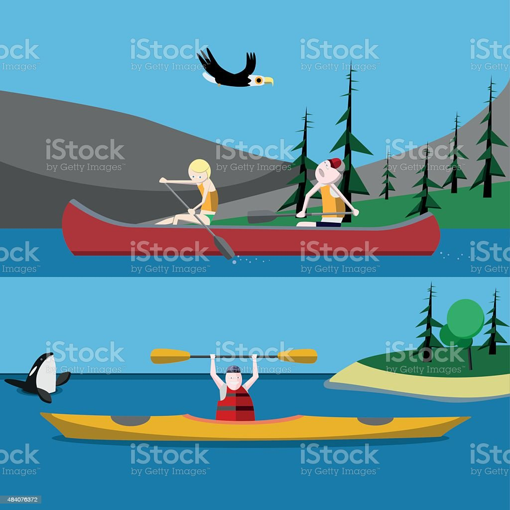 Canoeing and kayaking vector art illustration