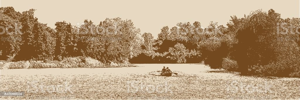 Canoeing on a beautiful lake vector art illustration