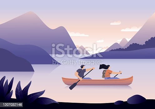 Couple canoeing on a lake surrounded with beautiful landscape. Fully editable vectors on layers. This image includes transparencies.