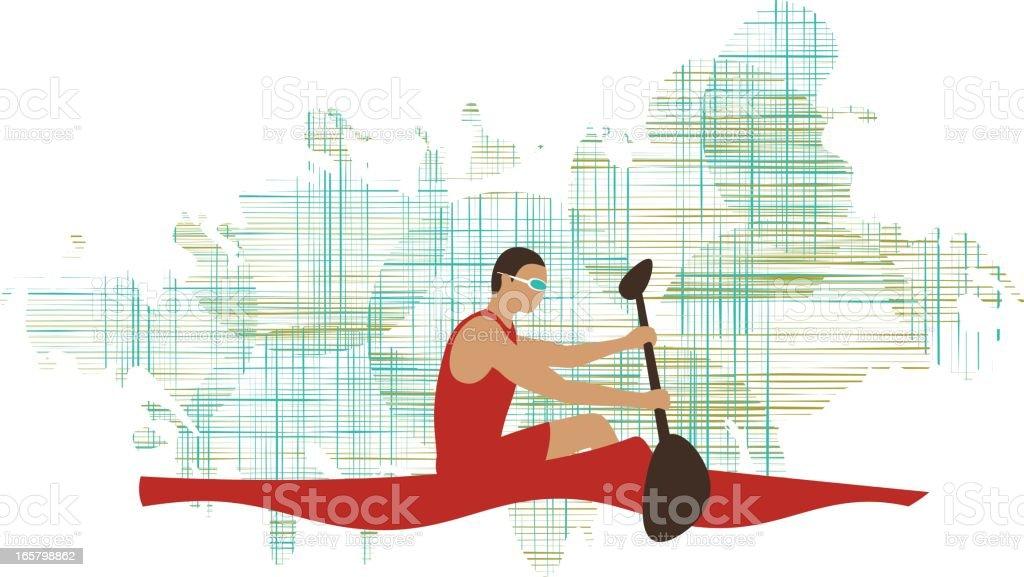 Canoeing vector art illustration